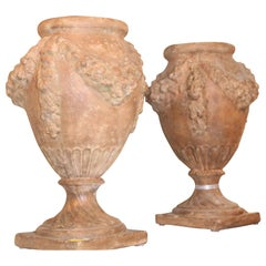 Pair of 20th Century Italian Terra Cotta Urns