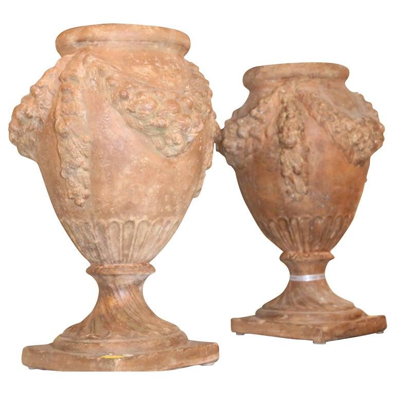 Pair of 20th Century Italian Terra Cotta Urns For Sale