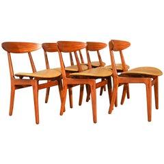 Vilhelm Wohlert Danish Teak Dining Chairs, Set of Six, Mustard Vinyl