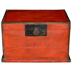 Antique Red Chinese Trunk, Blanket Chest with Original Hardware