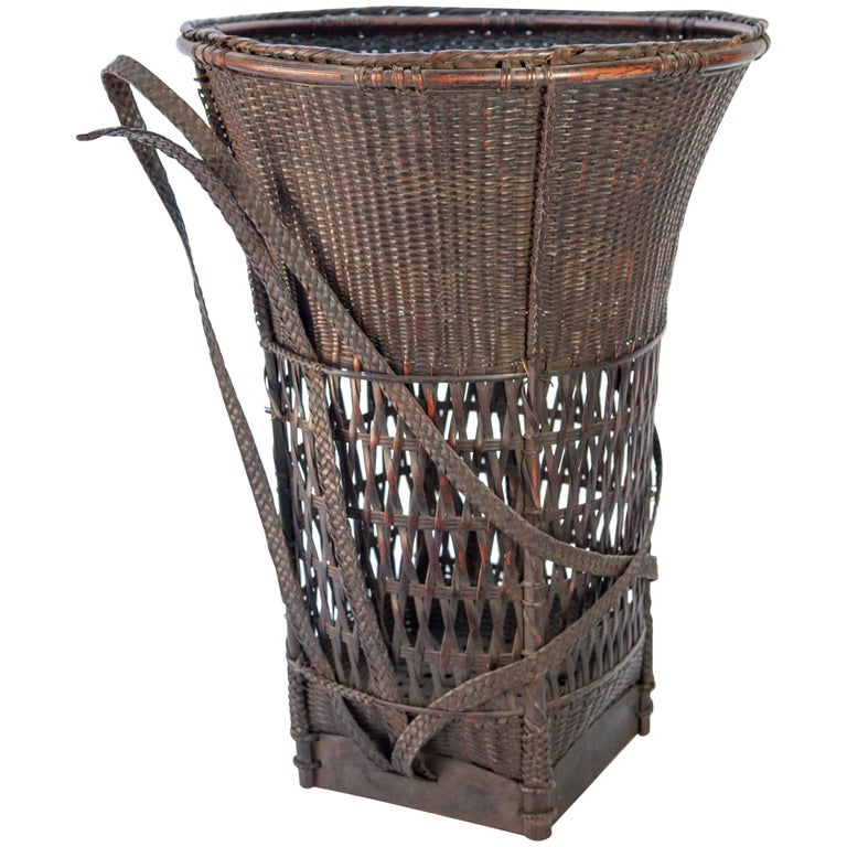 Carrying Basket from Laos, Mid-20th Century, Bamboo and Rattan with Wooden Base