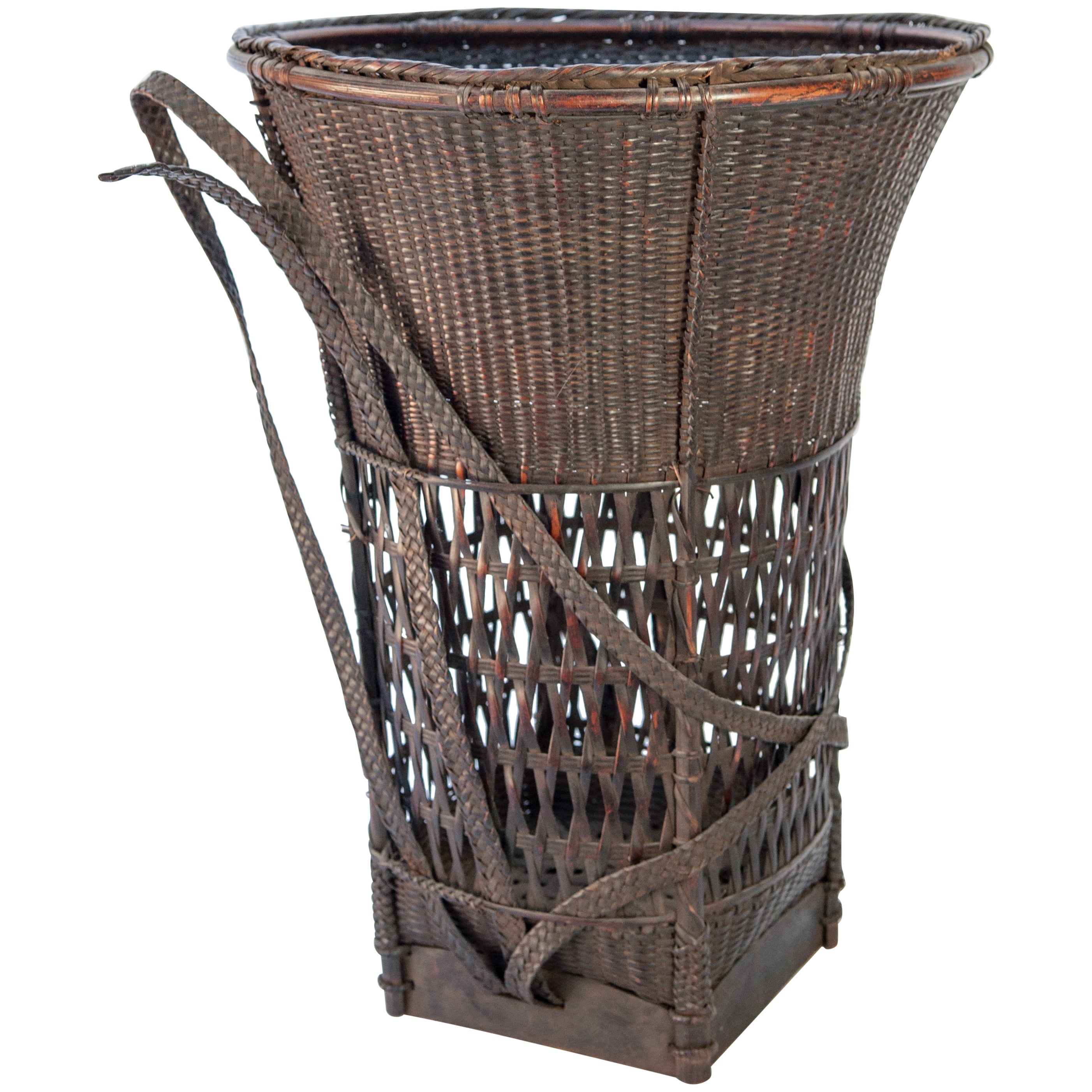 Carrying Basket From Laos, Mid 20Th Century, Bamboo And Rattan With
