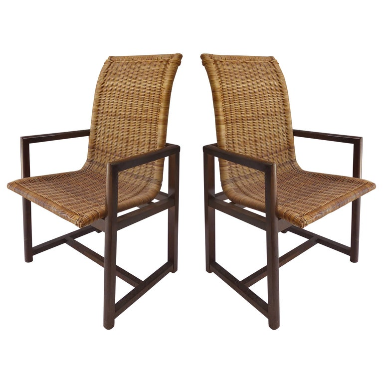 Vintage High Back Beech and Woven Wicker Dining Chairs, Pair