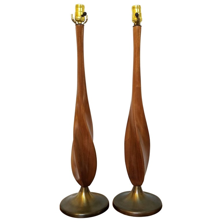 Pair of Mid-Century Modern Twisted Walnut Table Lamps