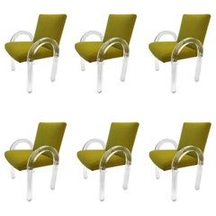 Set of Six Acrylic Waterfall Dining Chairs by Charles Hollis Jones