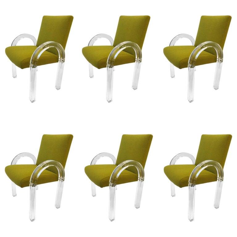 Set of Six Acrylic Waterfall Dining Chairs by Charles Hollis Jones