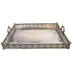 Large Equestrian Motif Silver Plated Serving Tray