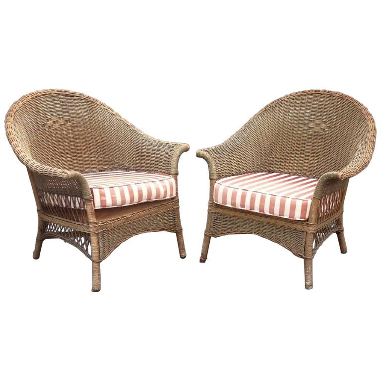 Pair of Wicker Chairs For Sale