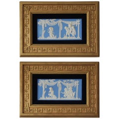 Pair of Large Framed Tablets: Bacchanalian Boys, Wedgwood, circa 1860