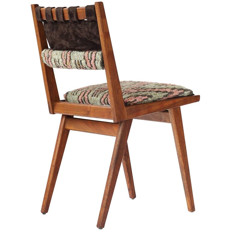 Midcentury Embroidered Walnut Side Chair by Mel Smilow