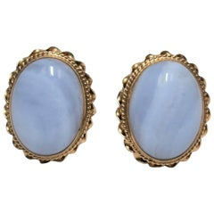 Vintage Chalcedony and 14-Karat Gold Earrings