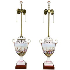 Pair of French Pottery Lamps