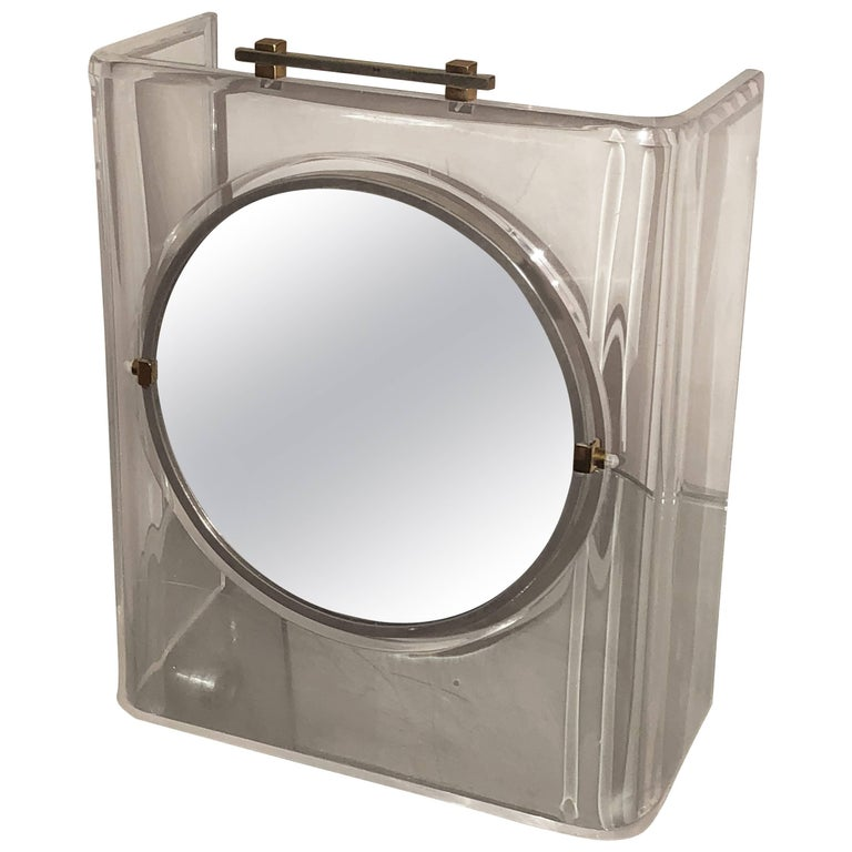 Italian Mid-Century Modern Lucite Chrome and Brass Vanity Table Mirror
