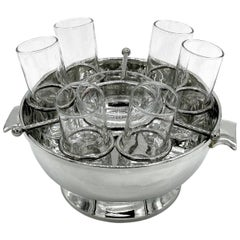 Silver Plate Caviar and Vodka Server