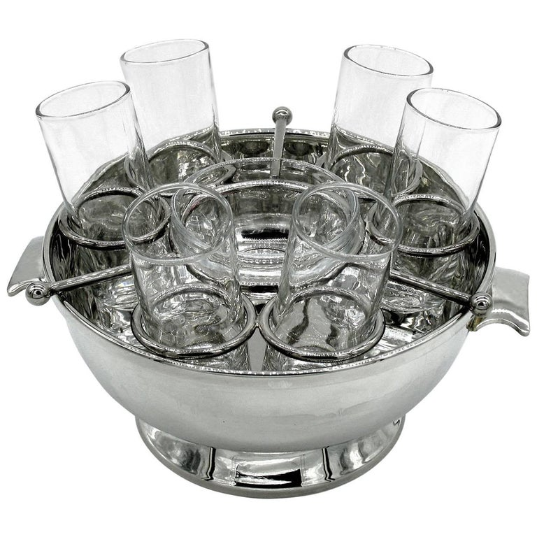 Silver Plate Caviar and Vodka Server