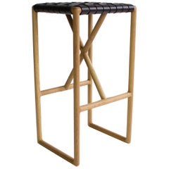 Montgomery Leather and Solid Wood Counter Stool