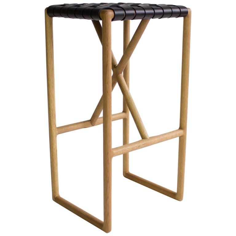 Montgomery Leather and Solid Wood Bar Stool