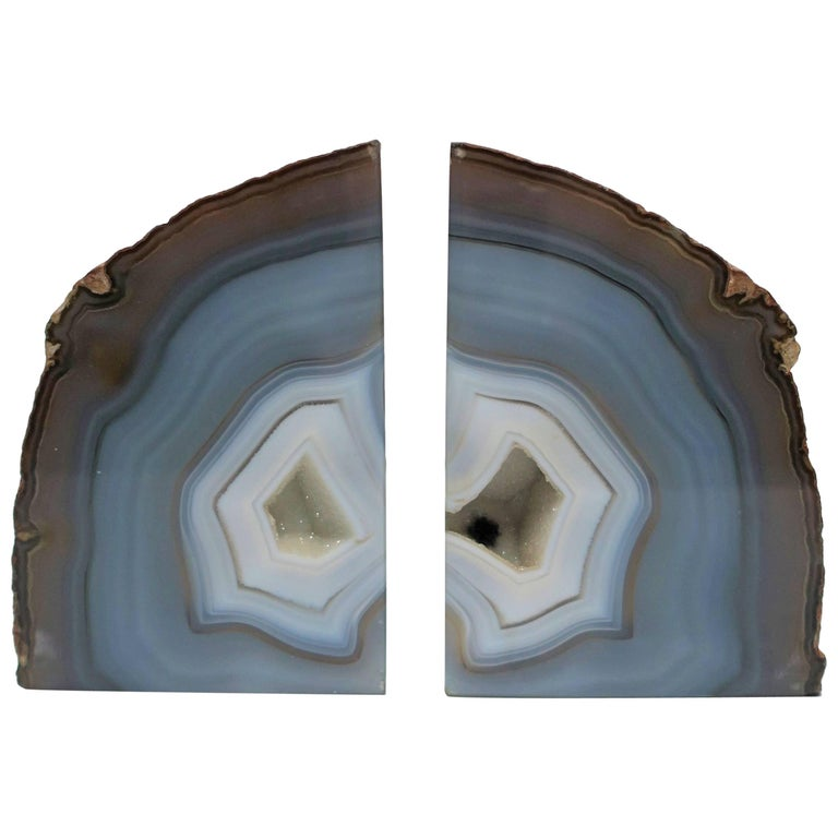Pair of Blue and White Agate Geode Crystal Bookends or Decorative Objects