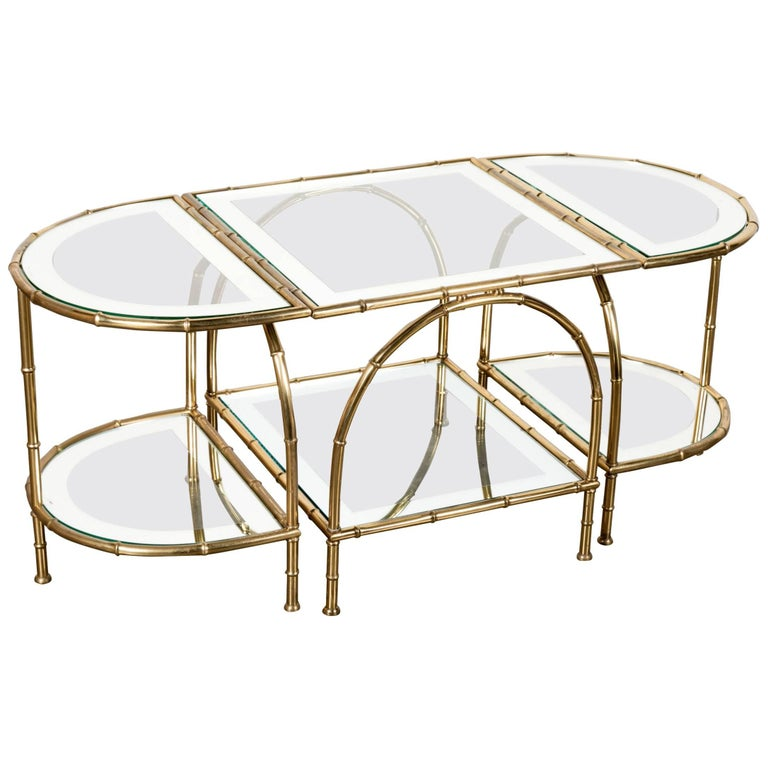 French Midcentury Brass Faux Bamboo Three-Piece Coffee Table by Maison Baguès