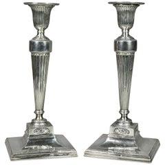 Pair of George III Sterling Candlesticks