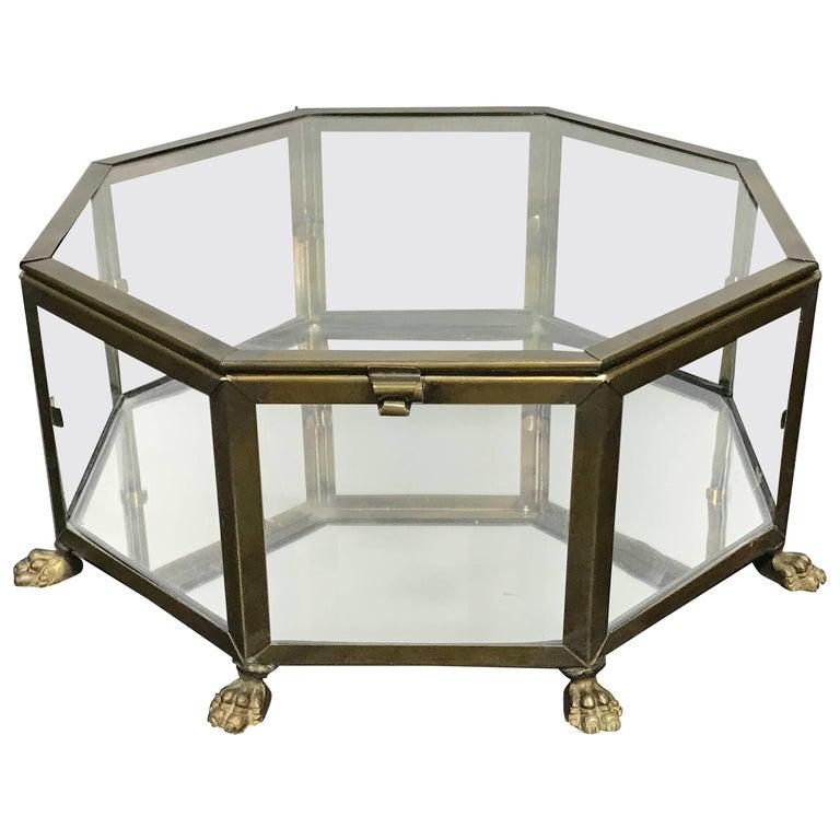 Italian Grand Tour Style Brass Octagonal Table Vitrine