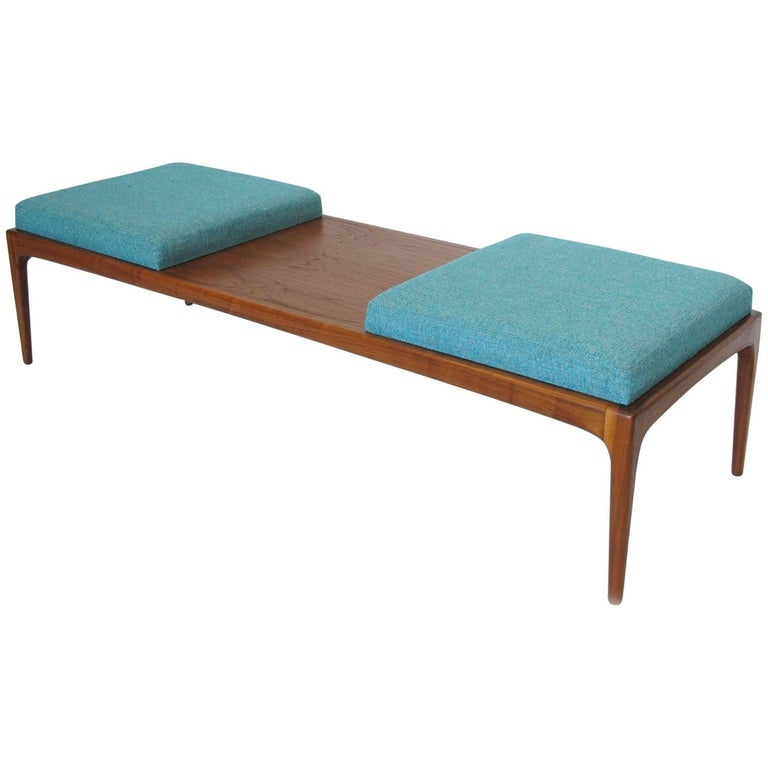 Lane Furniture Mid-Century Modern Long Upholstered Walnut Bench