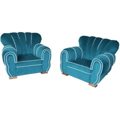 """Stunning Pair of Fully Restored French Art Deco Oversized """"Elephant"""" Chairs"""