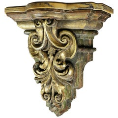 Italian Baroque Giltwood and Marble Wall Bracket