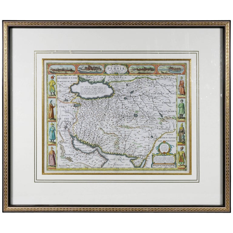 Framed Hand Colored Map of Persia by John Speed