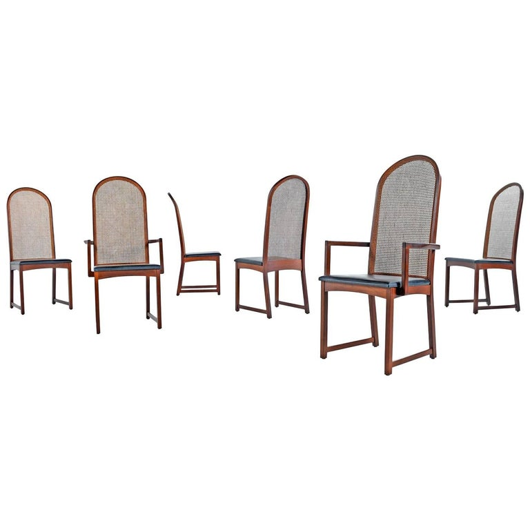 Set of Six Milo Baughman for Dillingham Walnut Cane Back Dining Chairs