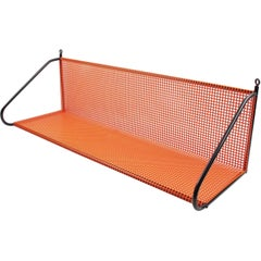 Orange Perforated Metal Wall Bookshelf in the Manner of Mathieu Mategot