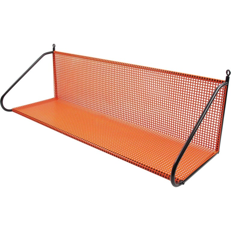 Manner of Mathieu Mategot Orange Perforated Metal Wall Mounted Bookshelf  For Sale