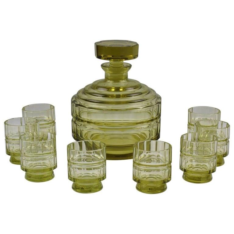Art Deco Barware Bohemian Crystal Liquor Decanter and Glass Set - 9 pieces