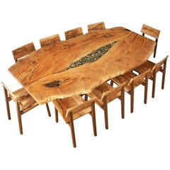 Live Edge, Solid Wood Dining Table in Maple and Walnut with Glass and Rock Inlay