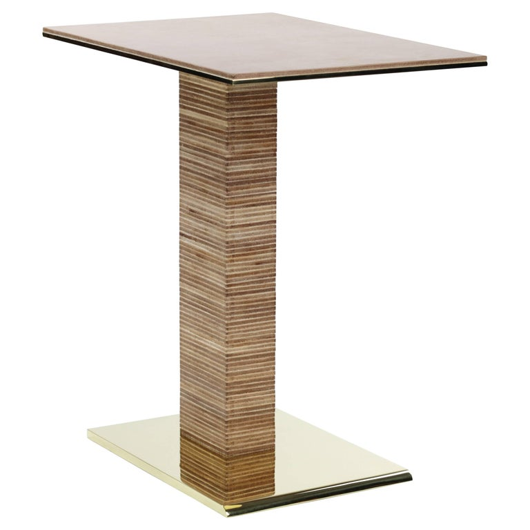 Cantilever Infinity Side Table, stacked leather & brass by Christopher Kreiling For Sale