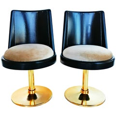 Rare and Elegant Pair of Low Chairs, circa 1970