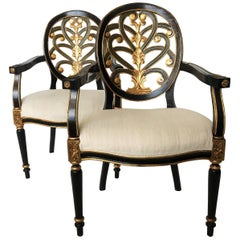 Pair of Elegant Sheraton Style Lacquer and Gilt Carved Armchairs