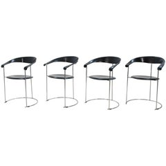 Four Arrben Canasta Chairs in Black Leather, 1960s