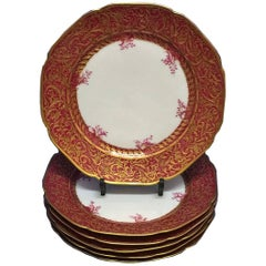 Six Red and Gild Plates of Havilland & Co, Limoge, France