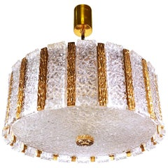 Gold-Plated and Ice Glass Drum Chandelier by Kalmar