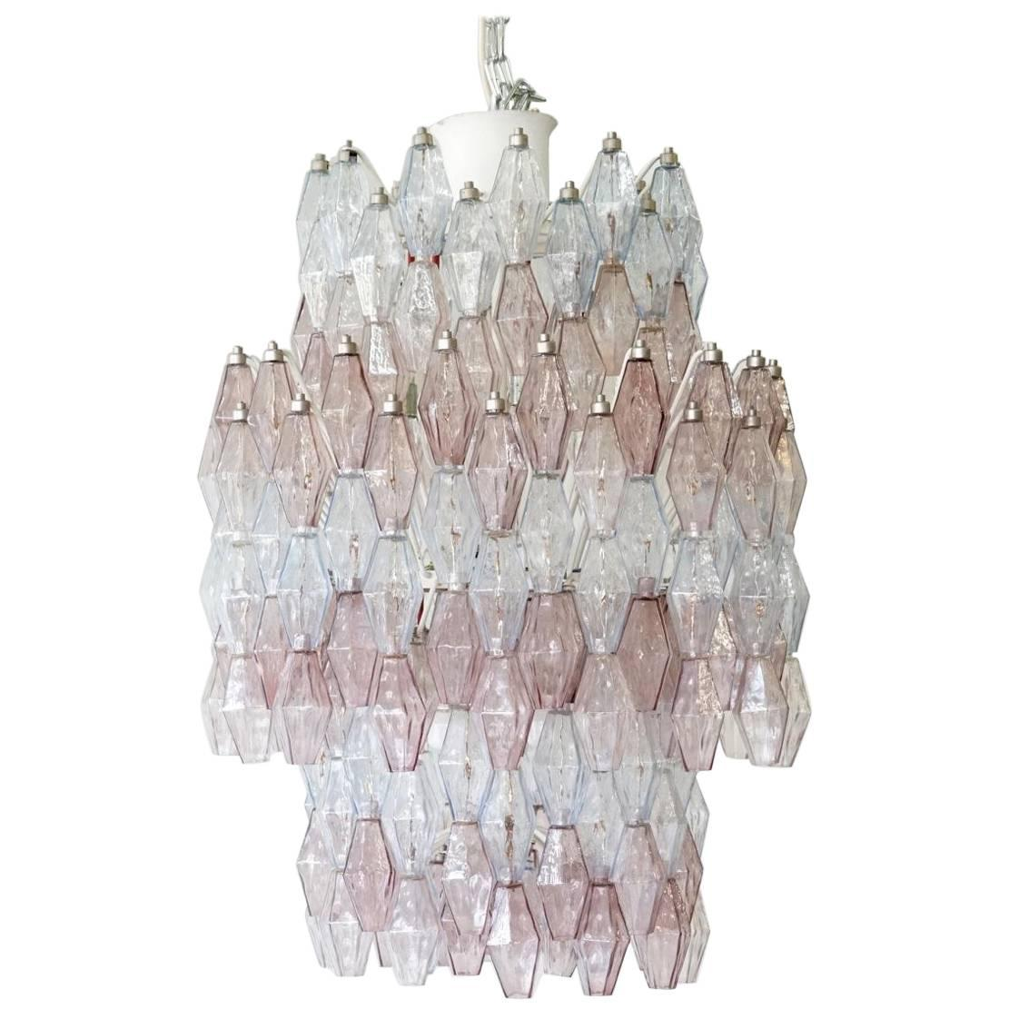 Large Polyhedr Venini Glass Chandelier Lamp Light Poliedri by Carlo Scarpa