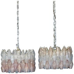 Pair of Venini Glass Chandelier Lamp Light Poliedri by Carlo Scarpa