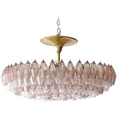 Venini Glass Chandelier Lamp Light Poliedri by Carlo Scarpa