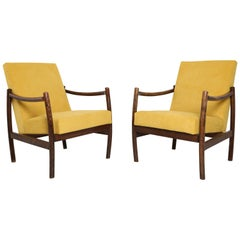 Club Armchair, Yellow Velvet, 1960s