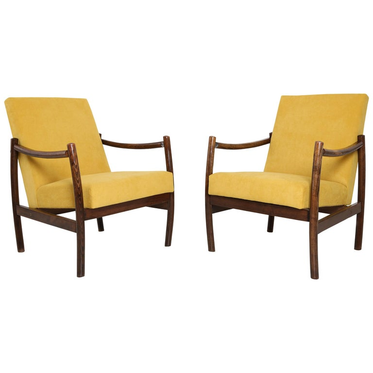 Club Armchair Yellow Velvet 1960s For Sale At 1stdibs