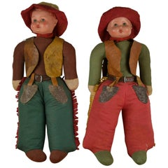 1930s Pair of Western Cowboy and Cowgirl Toy Dolls