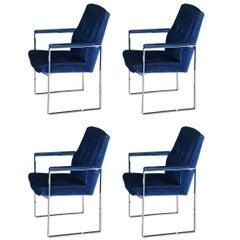 Set of Four Velvet Armchairs by Miller Borgsen Röder & Söhne