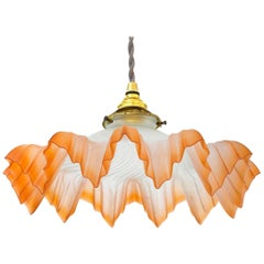 French Glass Pendant Light Shade Belle Époque, circa 1910