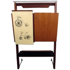 Midcentury Italian Design Fornasetti Style Bar Cabinet in Oak and Yellow Formica