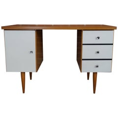 Wooden Teak and White Lacquer Desk Design from the 1960s